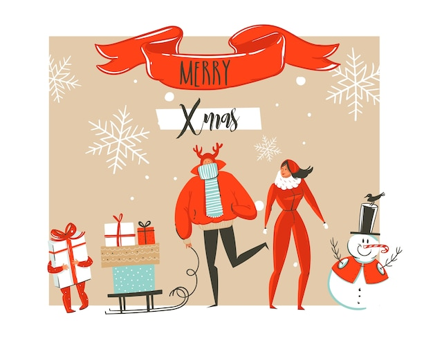 Ręcznie rysowane streszczenie wesołych świąt i szczęśliwego nowego roku ilustracje kreskówka kartkę z życzeniami z grupy osób na zewnątrz rodziny, bałwana i nowoczesną typografię na białym tle.