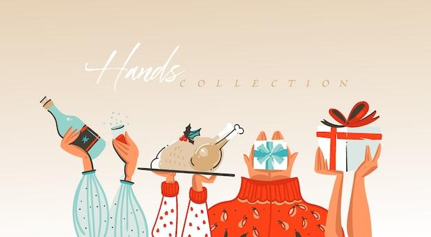 Ręcznie rysowane streszczenie wesołych świąt i szczęśliwego nowego roku ilustracje kreskówka pozdrowienia kolekcja zestaw z obchodzi ręce ludzi na białym tle.