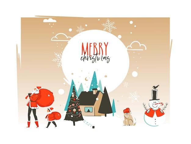 Ręcznie rysowane streszczenie wesołych świąt i szczęśliwego nowego roku ilustracje kreskówka szablon karty z pozdrowieniami z krajobrazem, domem i rodziną świętego mikołaja na białym tle.