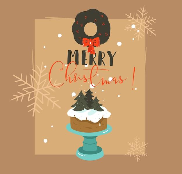 Ręcznie rysowane streszczenie wesołych świąt i szczęśliwego nowego roku ilustracje retro kreskówka kartkę z życzeniami z projekt stoiska na ciasto, wieniec jemioły i nowoczesną typografię na białym tle na brązowym tle.