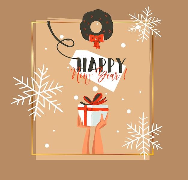 Ręcznie rysowane streszczenie wesołych świąt i szczęśliwego nowego roku retro ilustracja kreskówka