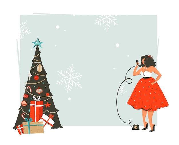 Ręcznie rysowane streszczenie wesołych świąt i szczęśliwego nowego roku retro vintage ilustracja kreskówka