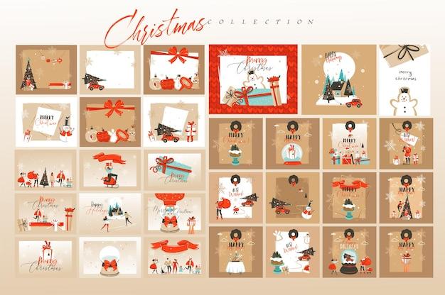 Ręcznie rysowane streszczenie zabawy wesołych świąt i szczęśliwego nowego roku zestaw kart z kreskówek czasu