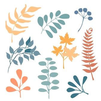 Ręcznie rysowane streszczenie zestaw boho liść na białym tle na beżowym tle. płaskie ilustracji wektorowych. projekt wzoru, logo, plakatów, zaproszenia, kartki z życzeniami