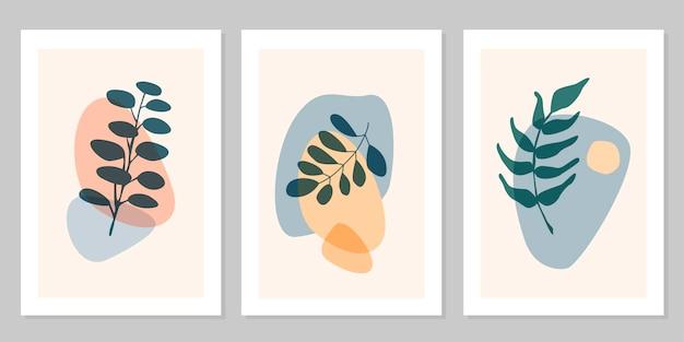 Ręcznie rysowane streszczenie zestaw boho liść z kształtem kolor na białym tle na beżowym tle. płaskie ilustracji wektorowych. projekt wzoru, logo, plakatów, zaproszenia, kartki z życzeniami