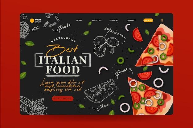 Ręcznie rysowane strona docelowa kuchni włoskiej