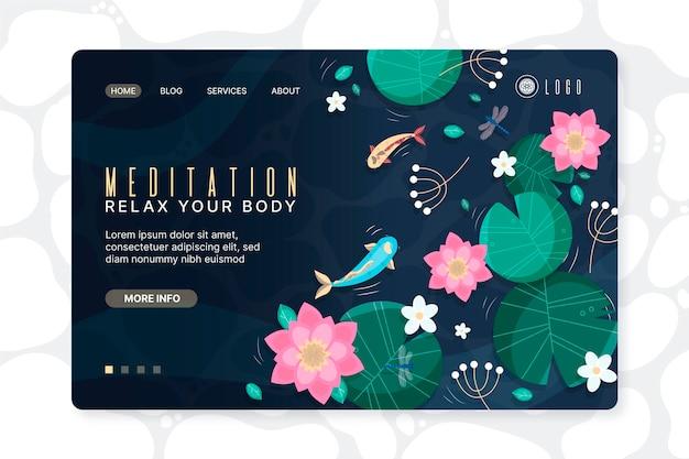 Ręcznie rysowane strona docelowa medytacji