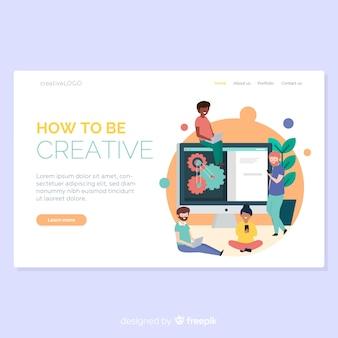 Ręcznie rysowane strony docelowe procesu twórczego