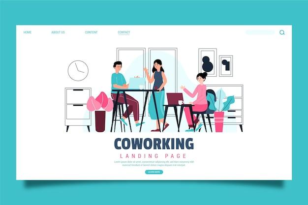 Ręcznie rysowane strony docelowej coworkingu