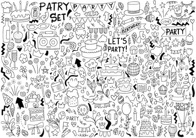 Ręcznie rysowane strony doodle wszystkiego najlepszego ozdoby tło wzór