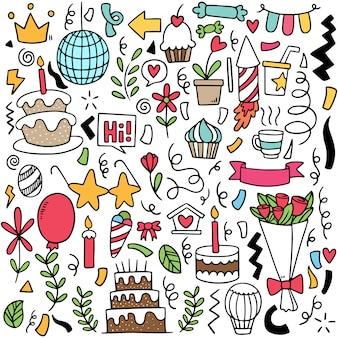 Ręcznie rysowane strony doodle wszystkiego najlepszego ozdoby w tle