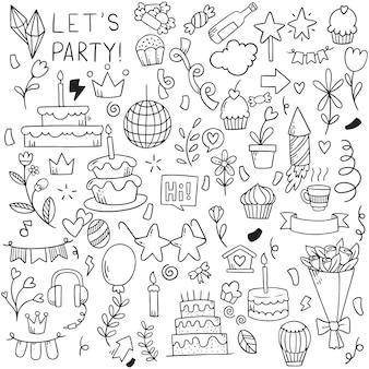 Ręcznie rysowane strony doodle wszystkiego najlepszego ozdoby wzór tła