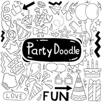 Ręcznie rysowane strony doodle wszystkiego najlepszego ozdoby