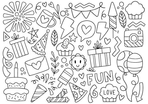 Ręcznie rysowane strony doodle wszystkiego najlepszego z okazji urodzin ilustracji ozdoby