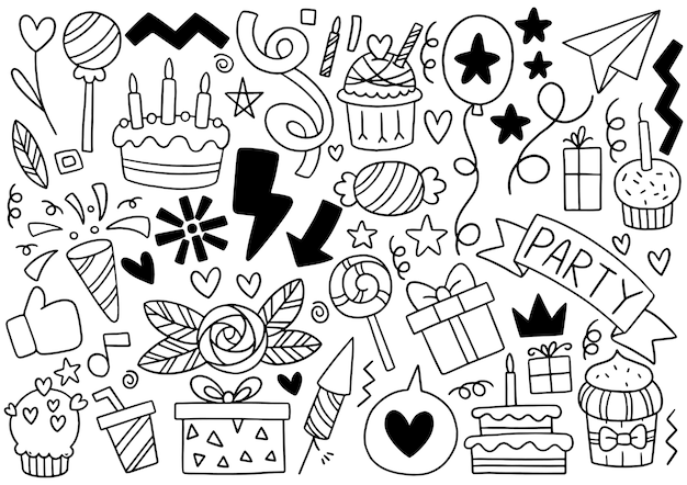 Ręcznie rysowane strony doodle wszystkiego najlepszego z okazji urodzin ozdoby