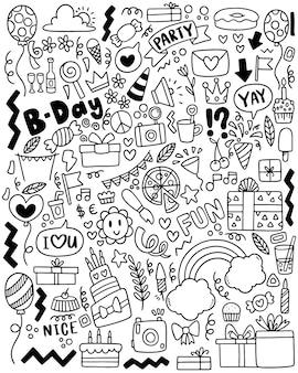 Ręcznie rysowane strony doodle wszystkiego najlepszego