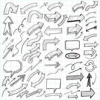 Ręcznie rysowane strzałki kierunkowe ustawić projekt szkicu
