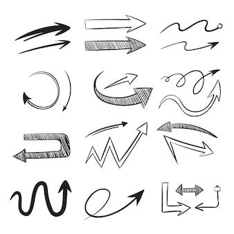 Ręcznie rysowane strzałki kierunkowe, zestaw grotów strzałek.