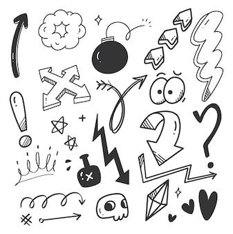 Ręcznie rysowane strzałki kulas doodle