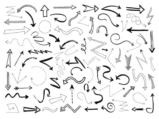 Ręcznie rysowane strzałki. naszkicuj czarne znaki linii kierunku strzałki. doodle bazgroły monochromatyczne wskazówki, zarys wektor zestaw