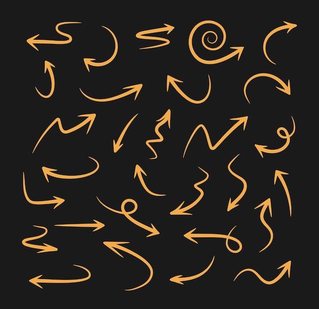 Ręcznie rysowane strzałki wektor zestaw ikon strzałki o różnych kształtach i kierunkach