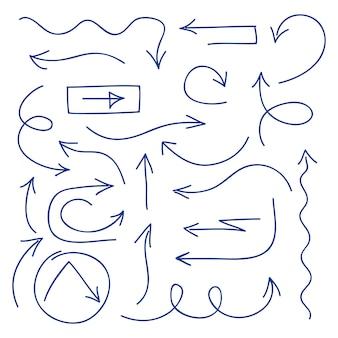 Ręcznie rysowane strzałki zestaw - długopis naszkicował strzałki