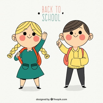 Ręcznie rysowane studentów podnoszących ręce