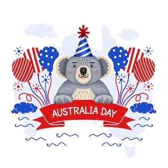 Ręcznie rysowane styl australia dzień wydarzenie z misiem koala