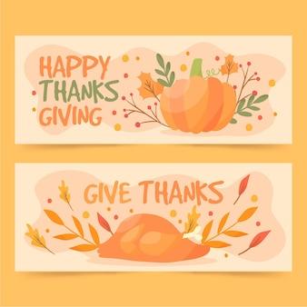 Ręcznie rysowane styl banery dziękczynienia