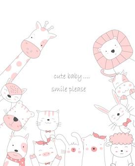 Ręcznie rysowane styl biały ładny kreskówka zwierząt