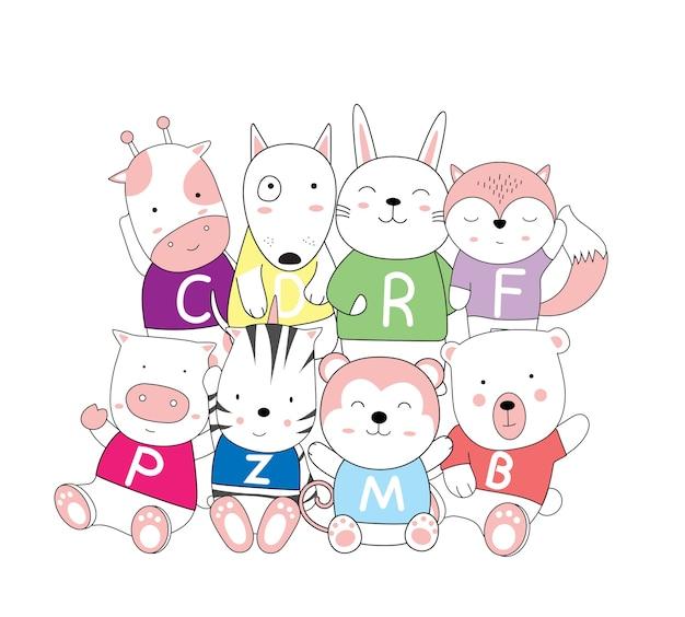 Ręcznie rysowane styl cartoon szkic cute baby zwierząt