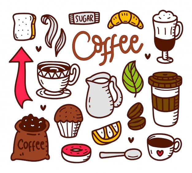 Ręcznie rysowane styl doodle kawy
