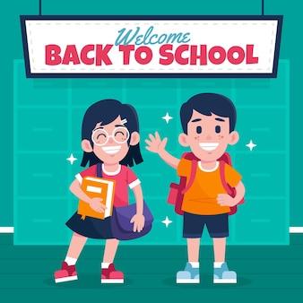 Ręcznie rysowane styl dzieci z powrotem do szkoły
