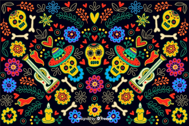 Ręcznie rysowane styl dzień zmarłych tła