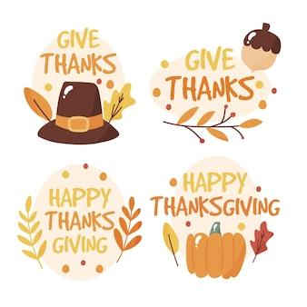 Ręcznie rysowane styl etykiety dziękczynienia
