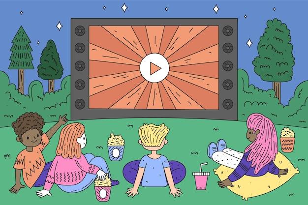 Ręcznie rysowane styl kino na świeżym powietrzu