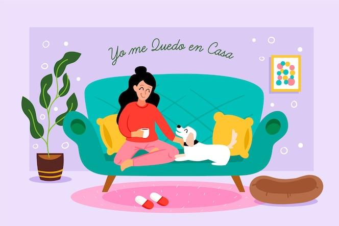 Ręcznie rysowane styl kobieta na kanapie