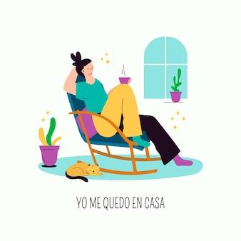 Ręcznie rysowane styl kobieta relaksujący