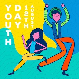 Ręcznie rysowane styl kolorowy dzień młodzieży
