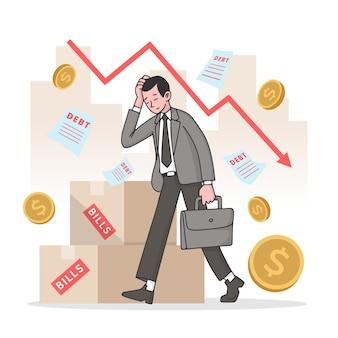 Ręcznie rysowane styl koncepcji bankructwa