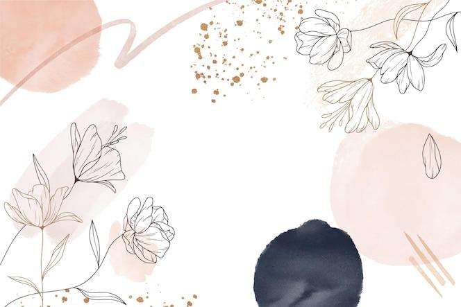 Ręcznie rysowane styl kwiatowy tło