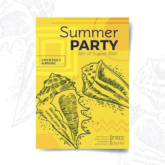 Ręcznie rysowane styl letni party plakat