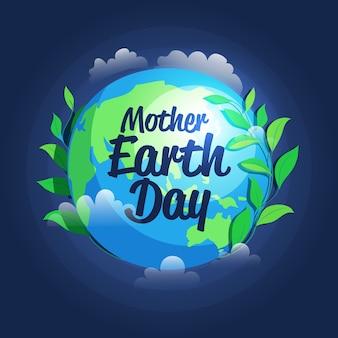 Ręcznie rysowane styl matka dzień ziemi wydarzenie