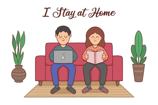 Ręcznie rysowane styl pobytu w domu koncepcja