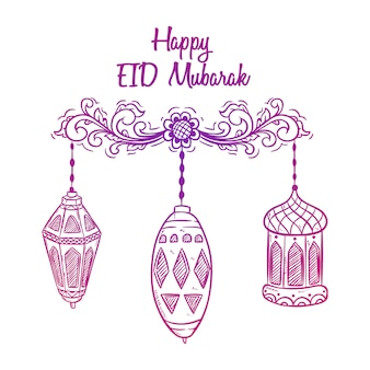 Ręcznie rysowane styl pozdrowienia eid mubarak z latarnią