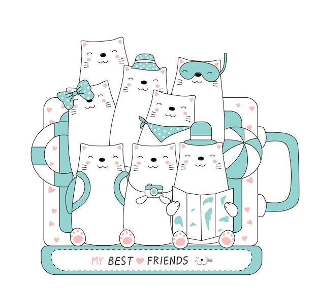 Ręcznie rysowane styl. śliczna kreskówka kotów