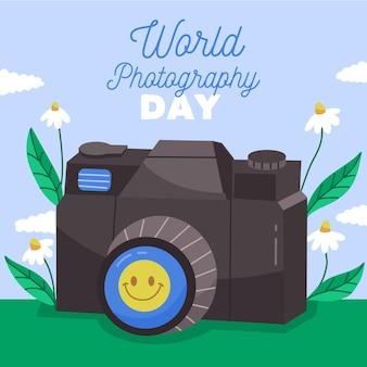 Ręcznie rysowane styl światowy dzień fotografii