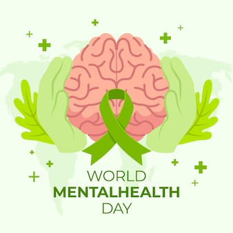 Ręcznie rysowane styl światowy dzień zdrowia psychicznego
