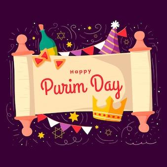 Ręcznie rysowane styl szczęśliwy dzień purim