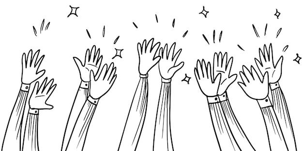 Ręcznie rysowane styl szkic oklaski, kciuki do góry gest. ludzkie ręce klaszczące owacje. na doodle stylu, ilustracji wektorowych.